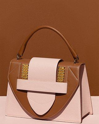 Kilesa Icon studs handbag in pelle cuoio e nude con borchie