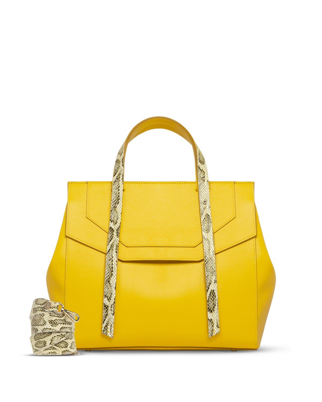 Kilesa Melissa borsa in pelle gialla con manico doubleface con tracolla 2