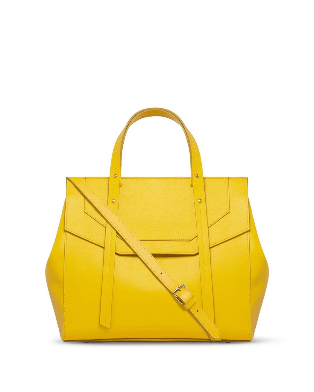 Kilesa Melissa borsa in pelle gialla con manico doubleface con tracolla