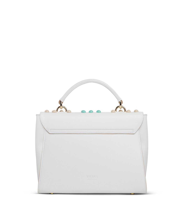 Kilesa ArtWork Handbag bianca con borchie colorate retro