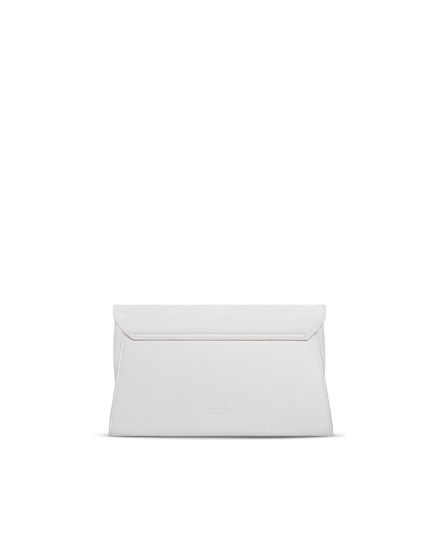Kilesa ArtWork clutch bianca con borchie retro