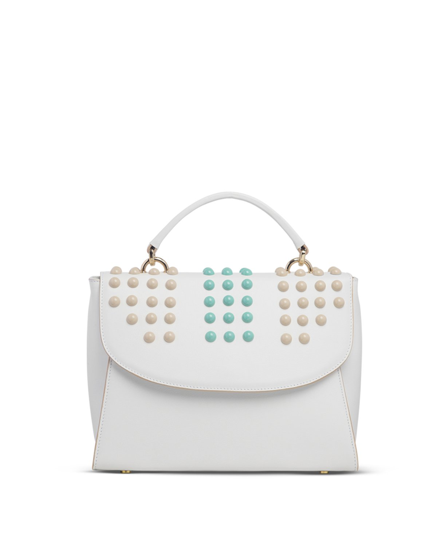 Kilesa ArtWork handbag in pelle bianca con borchie colorate