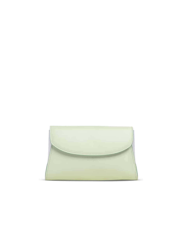 Melly clutch in pelle verde chiaro e bianco