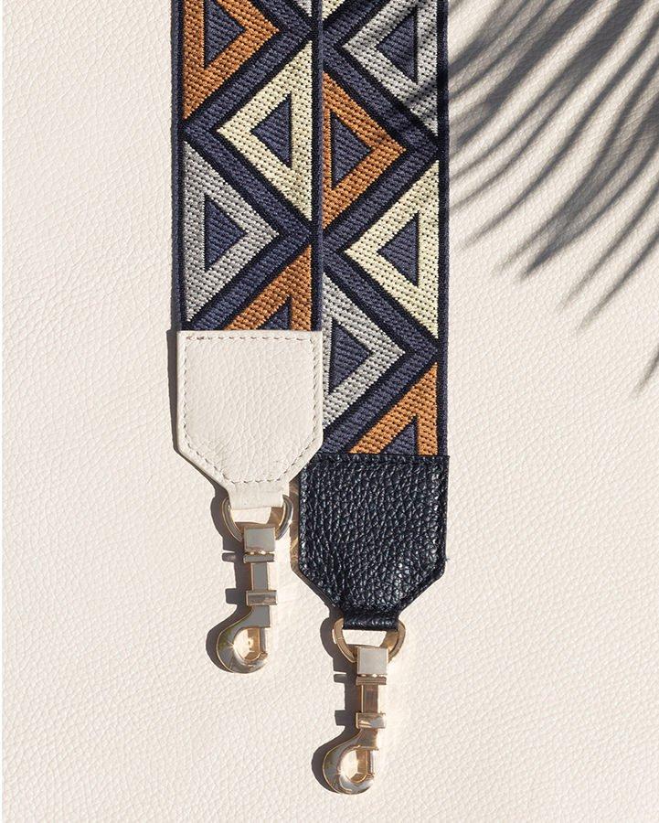 Kilesa Icon tracolle etniche bianco e nero in pelle e seta