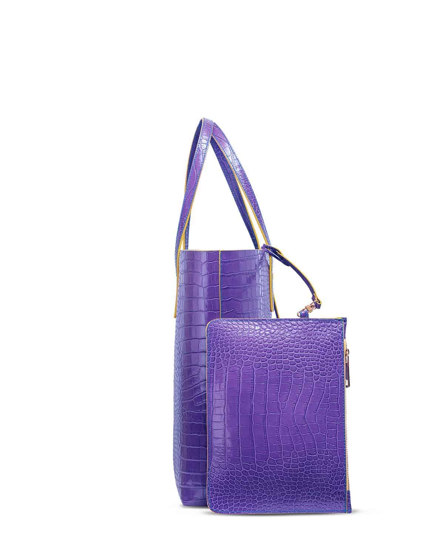 Kilesa wandy shopper bag coccolux leather purple pochette