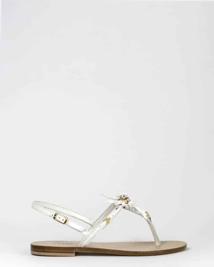 Kielsa white sandals in leather coral model side