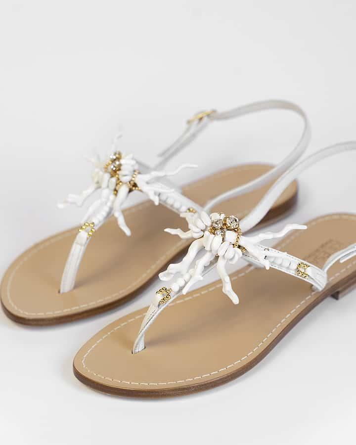 Kilesa white sandals in leather coral model