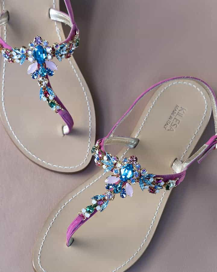 Kilesa Fuchsia leather sandals with coloured swarovski gems