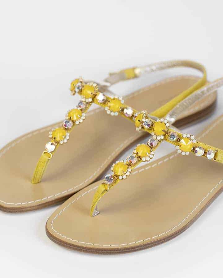 Kilesa yellow suede sandals with crystals