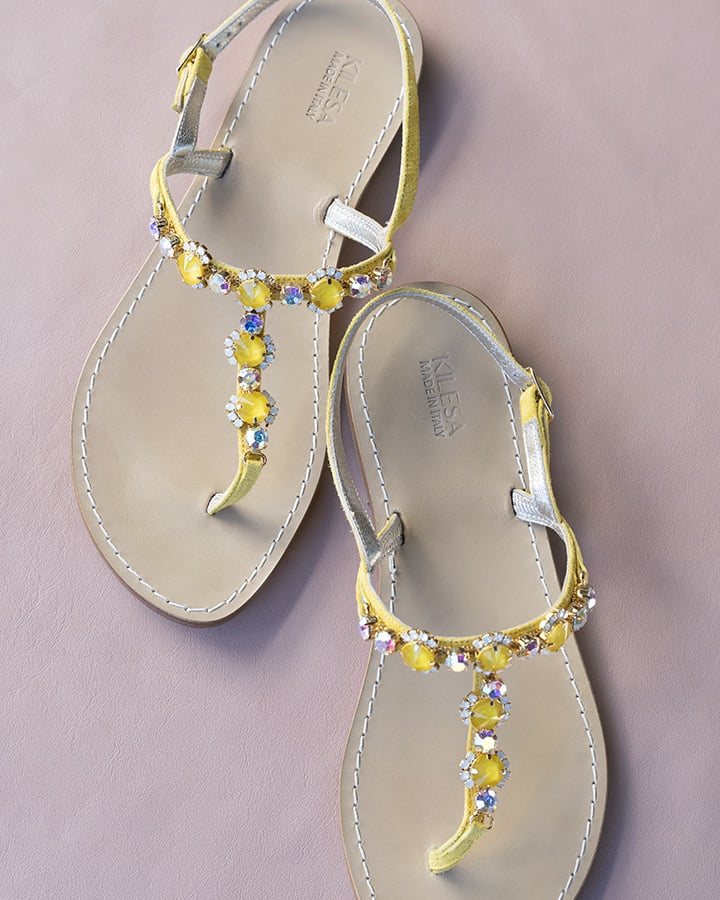 Kilesa Yellow suede leather sandals