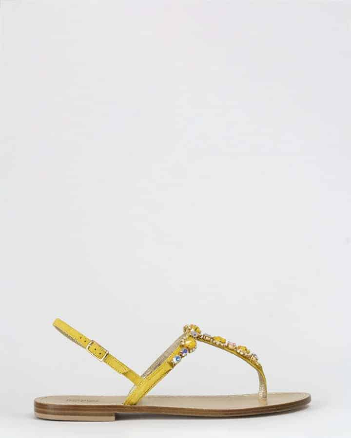 Kilesa yellow leather sandals with swarovski crystals