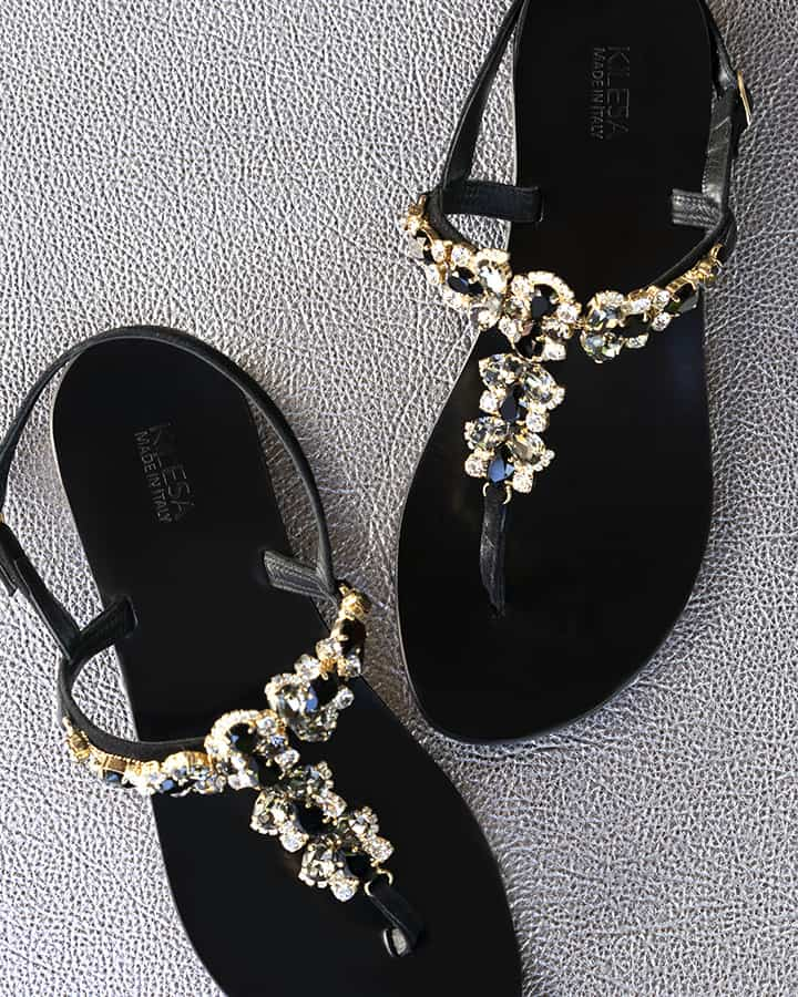Kilesa black leather sandals with white and gold crystals