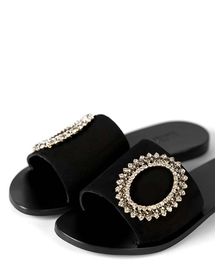 Sandali ciabatta in camoscio nero