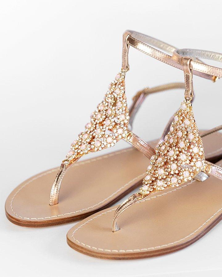 Sandali gioiello alla schiava in pelle oro rosa