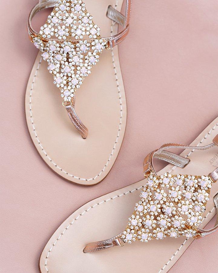 Sandali in pelle oro rosa stile gladiatore