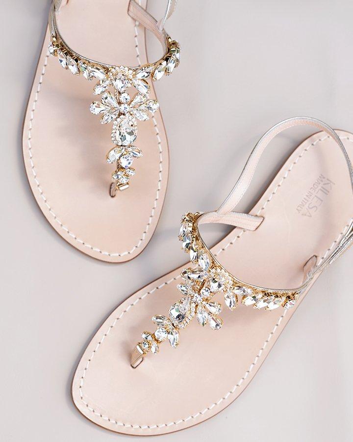 Sandali platino in pelle con swarowski