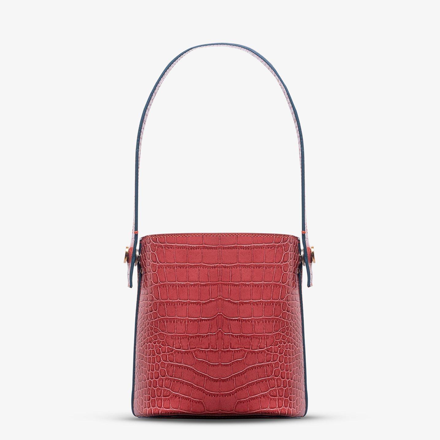 Kilesa wandy borsa secchiello in pelle rossa coccolux