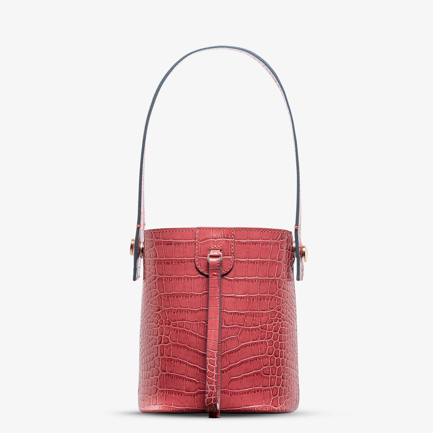 Kilesa wandy mini bucket in pelle rossa coccolux