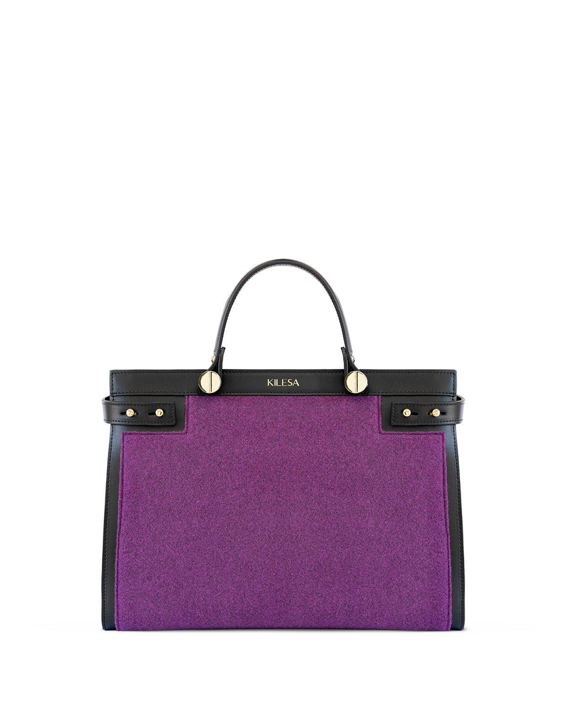 Kilesa handbag in vera pelle e feltro ecologico viola