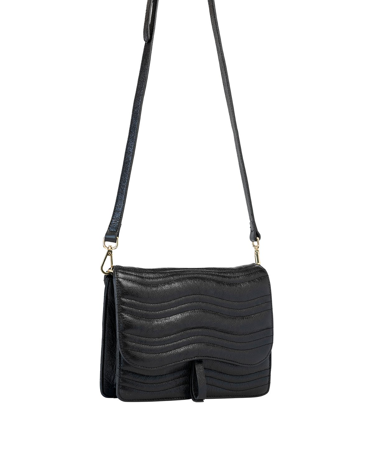 Kilesa luxury bag tracolla in pelle nera laminata