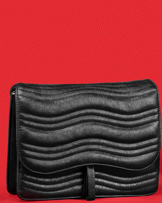 Kilesa luxury box bag laminated black leather