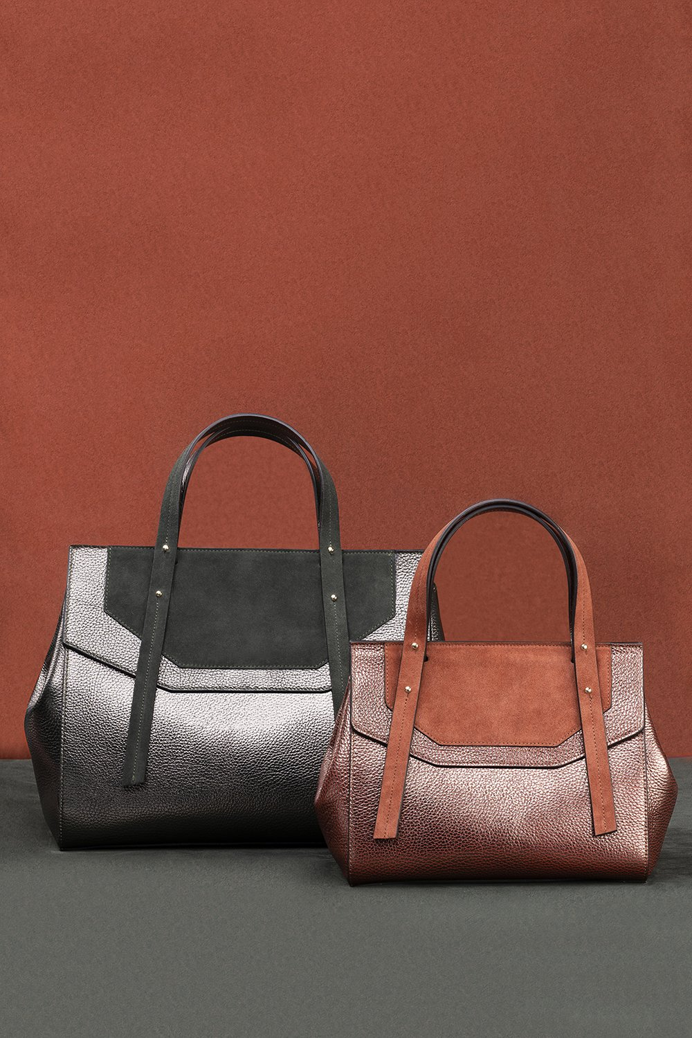 Kilesa made in italy bags laminated leather and suede