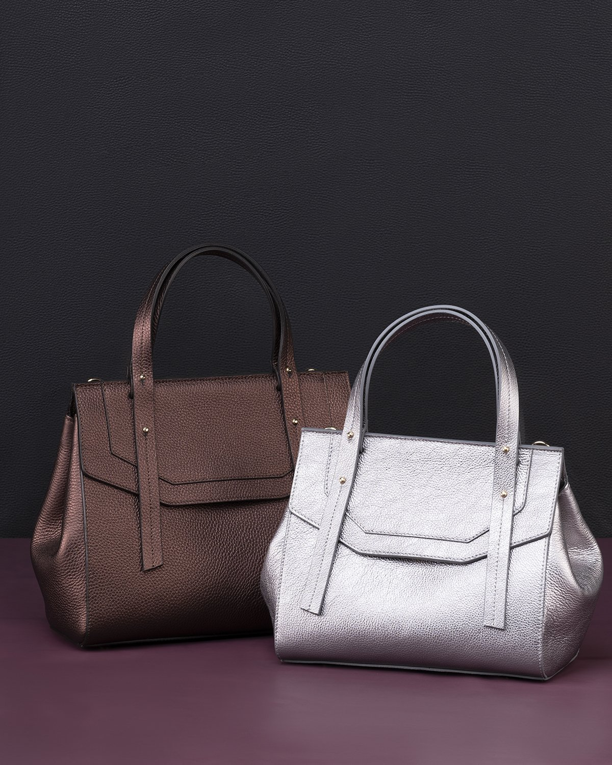 Kilesa italian bags made with shiny calfskin leather