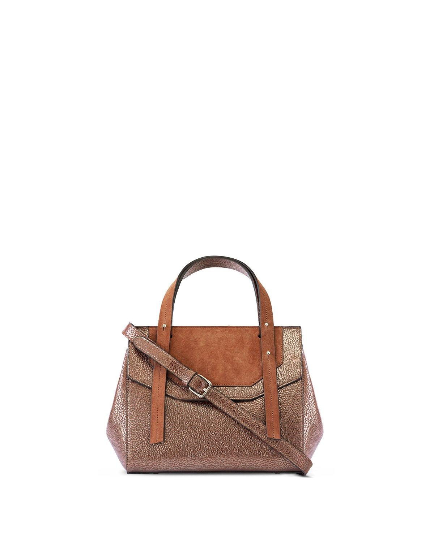 Kilesa handbag small in pelle laminata e camoscio marrone