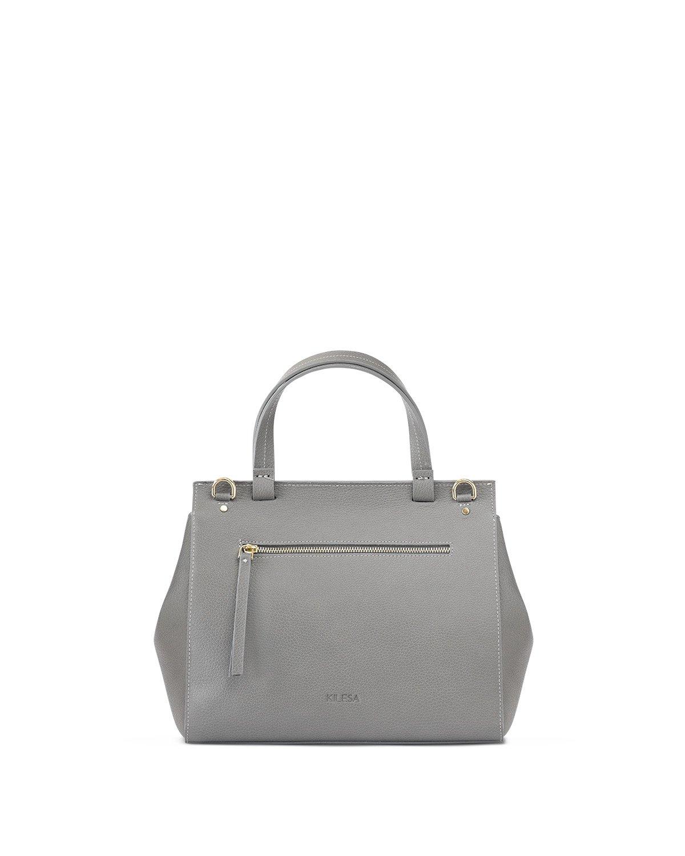 Kilesa Melissa handbag in pelle grigia stampa alce retro