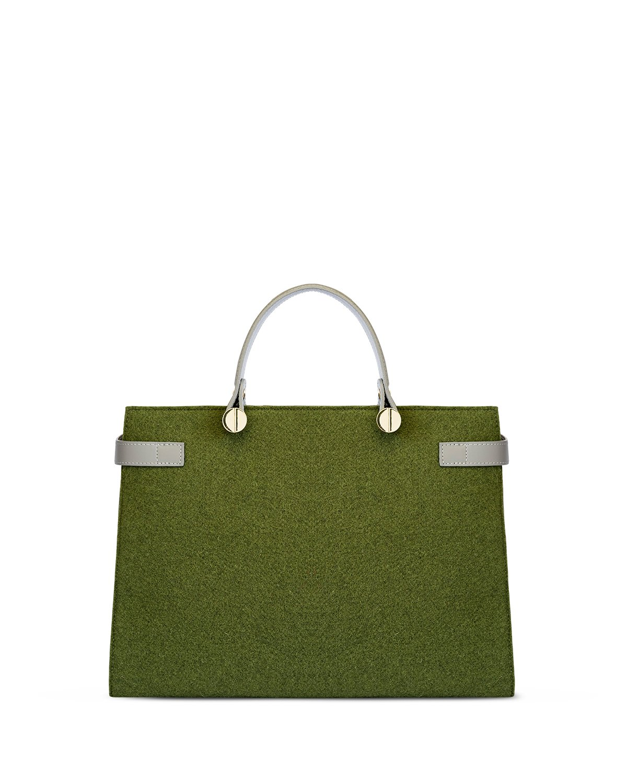 kilesa luxury borsa in pelle e feltro verde retro