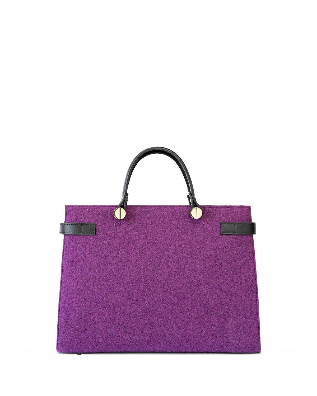 kilesa luxury borsa in pelle e feltro viola retro