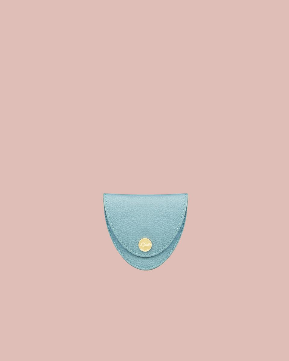 Kilesa Portamonete in pelle bottalata azzurra