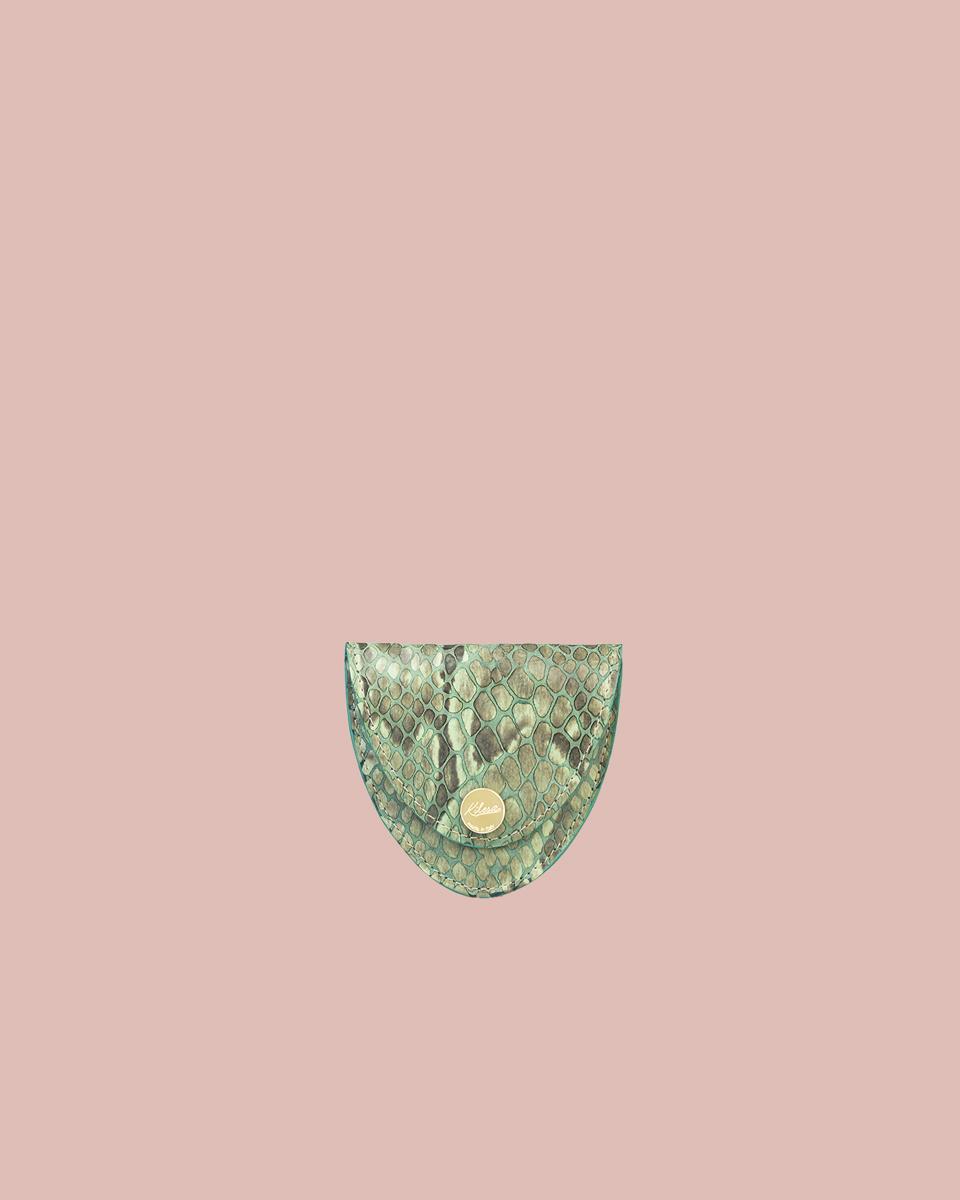 Kilesa Portamonete pitonato verde in vera pelle