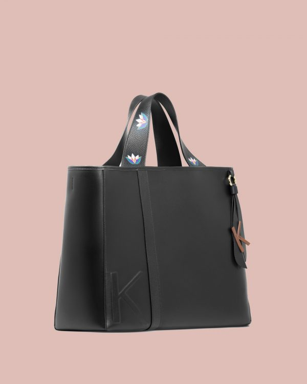 Kilesa Rinascimento maxi shopper in pelle nera lato