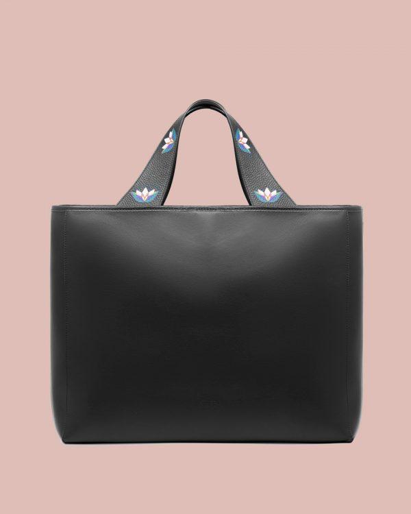Kilesa Rinascimento maxi shopper in pelle nera retro