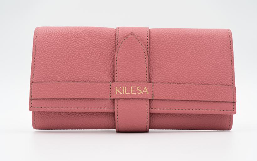 Kilesa portafogli vera pelle bottalata rosa