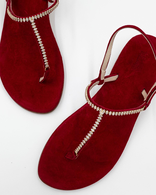sandali in pelle rossa con swarowski