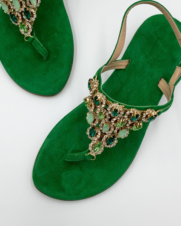 sandali gioiello verde scamosciato